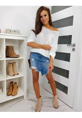 Oversize dámsky sveter bielej farby