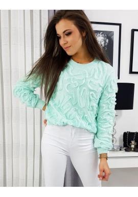 Dámsky elegantný sveter v mätovej farbe