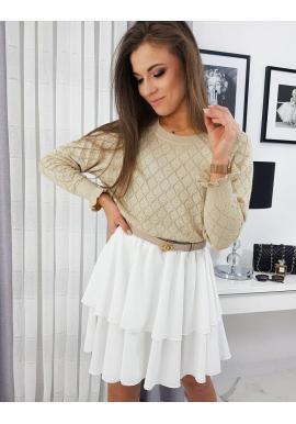 Béžové vzorované svetre pre dámy