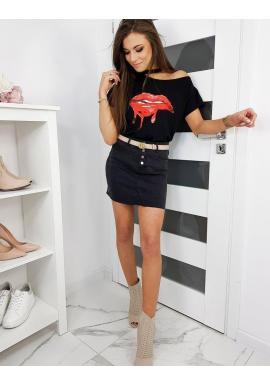 Štýlové dámske tričko čiernej farby s potlačou