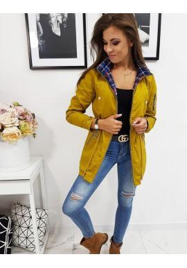 Dámska prechodná bunda s odopínateľnou kapucňou v žltej farbe