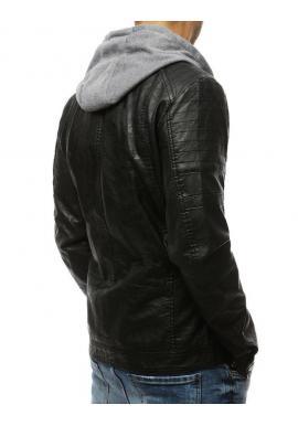 Kožená pánska bunda čiernej farby s kapucňou