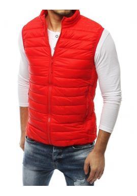 Červená prešívaná vesta bez kapucne pre pánov