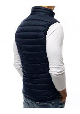Pánska prešívaná vesta bez kapucne v tmavomodrej farbe