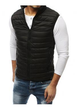 Prešívaná pánska vesta čiernej farby bez kapucne