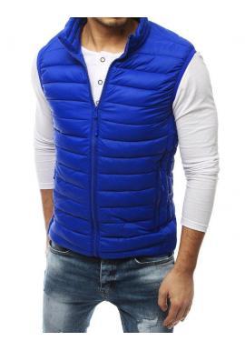 Modrá prešívaná vesta bez kapucne pre pánov