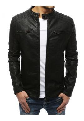 Čierna kožená bunda na prechodné obdobie pre pánov