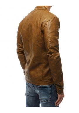 Kožená pánska bunda hnedej farby
