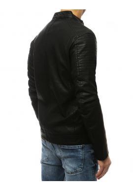 Kožená pánska bunda čiernej farby