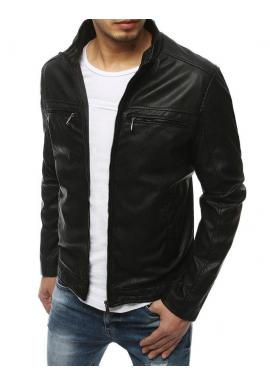 Čierna kožená bunda s ozdobnými zipsami pre pánov