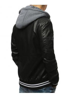 Kožená pánska bunda čiernej farby s odopínacou kapucňou