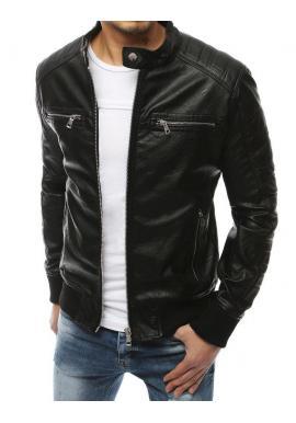 Pánska kožená bunda na jar v čiernej farbe