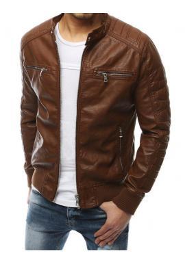 Hnedá kožená bunda na jar pre pánov