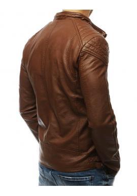 Pánska kožená bunda na prechodné obdobie v hnedej farbe