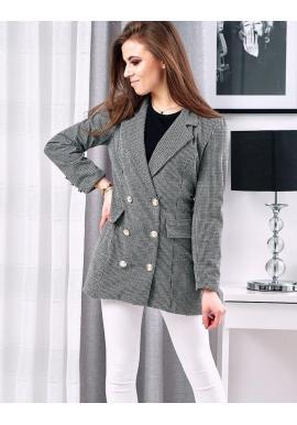 Dámske elegantné sako so vzorom v čierno-bielej farbe