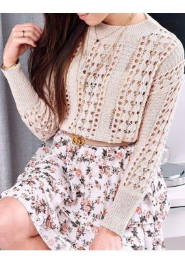 Dámsky ažúrový sveter na jar v béžovej farbe