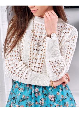 Biely ažúrový sveter na jar pre dámy