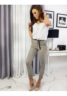 Béžové vzorované nohavice pre dámy