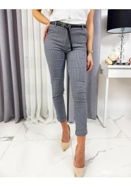 Vzorované dámske nohavice tmavomodrej farby