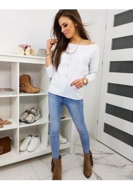 Dámske klasické tričko s dlhým rukávom v bielej farbe