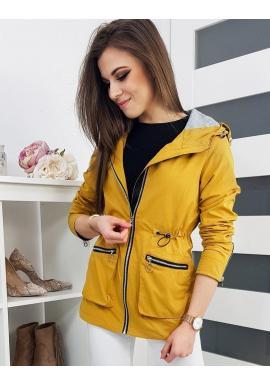 Jarná dámska Parka žltej farby s kapucňou
