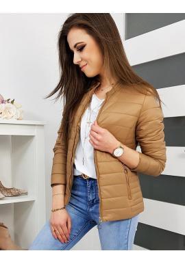 Dámska prešívaná bunda na jar v hnedej farbe