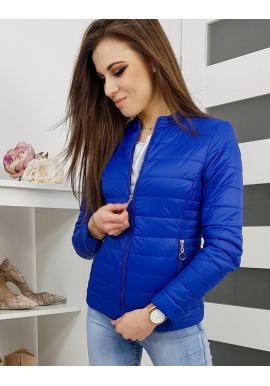 Dámska prešívaná bunda na jar v modrej farbe