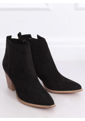 Čierne prechodné kovbojky na podpätku pre dámy