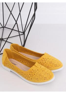 Semišové dámske balerínky žltej farby s ažúrovým vzorom
