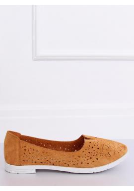 Hnedé semišové balerínky s ažúrovým vzorom pre dámy