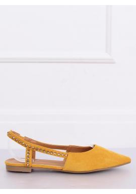 Žlté semišové balerínky s odkrytou pätou pre dámy