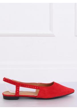 Dámske semišové balerínky s odkrytou pätou v červenej farbe