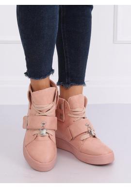 Ružové semišové Sneakersy s vysokou gumovou podrážkou pre dámy