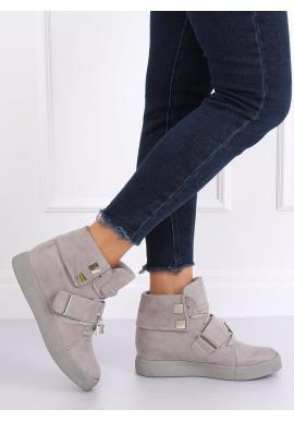 Dámske semišové Sneakersy s vysokou gumovou podrážkou v sivej farbe