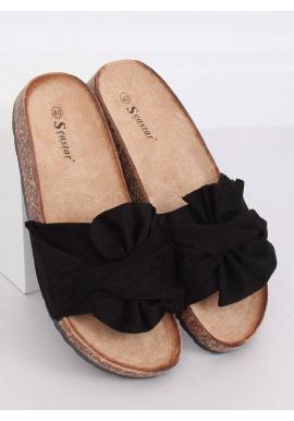 Semišové dámske šľapky čiernej farby s korkovou podrážkou