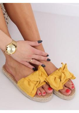 Dámske semišové šľapky s mašľou v žltej farbe