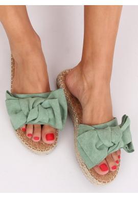 Semišové dámske šľapky zelenej farby s mašľou