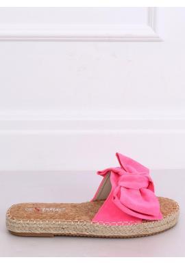 Ružové semišové šľapky s mašľou pre dámy