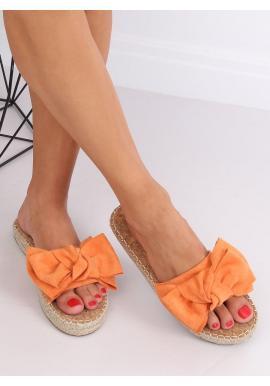 Dámske semišové šľapky s mašľou v oranžovej farbe