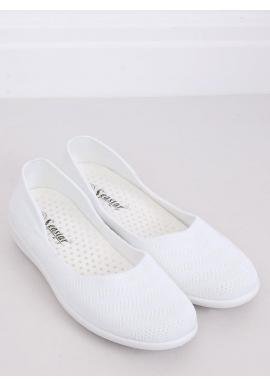 Biele sieťované balerínky s jemným vyvýšením pre dámy