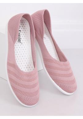 Sieťované dámske balerínky ružovej farby s jemným vyvýšením