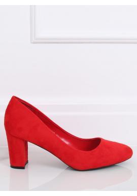 Červené semišové lodičky na stabilnom podpätku pre dámy