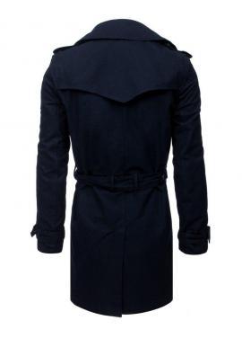 Dvojradový pánsky kabát čiernej farby s opaskom