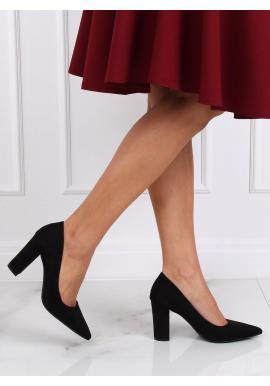 Semišové dámske lodičky čiernej farby na stabilnom podpätku