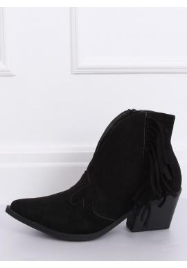 Jarné dámske kovbojky čiernej farby na podpätku so strapcami