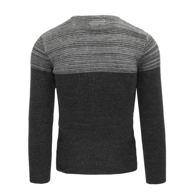 Prúžkovaný čierno-sivý sveter s okrúhlym výstrihom pre pánov
