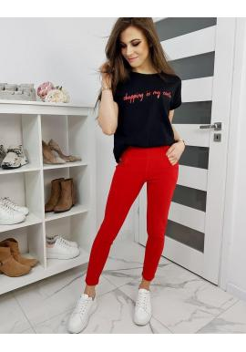 Elastické dámske nohavice červenej farby