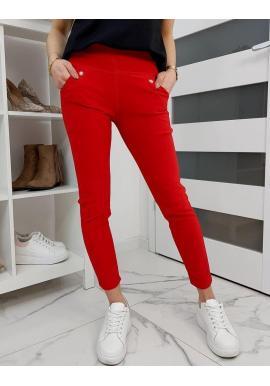 Dámske elastické nohavice v červenej farbe