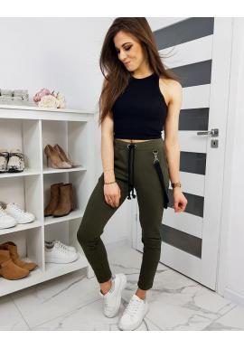 Dámske štýlové nohavice s ozdobným pásom v olivovej farbe