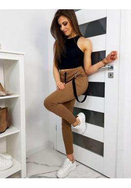 Hnedé štýlové nohavice s ozdobným pásom pre dámy